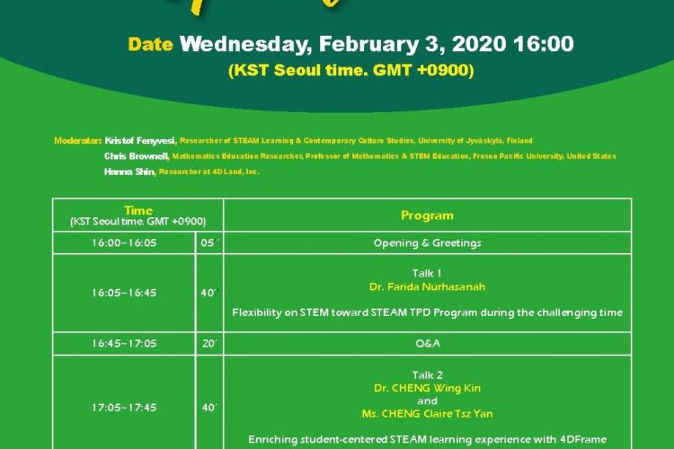 Online STEAM seminar series by 4DFrame and Experience Workshop launches on the 3rd of February