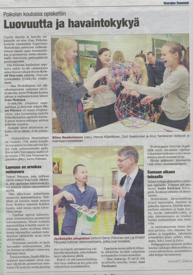 Az ÉlményMűhely 4Dframe foglalkozásainak fogadtatása a finnországi médiában